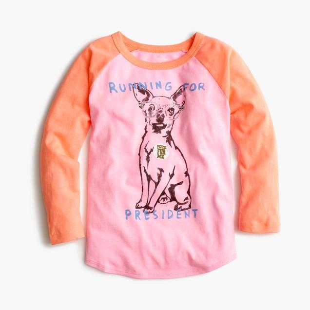 "Girls' chihuahua ""running for president"" baseball T-shirt"