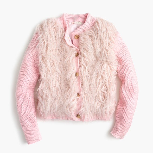 Girls' faux-fur cardigan jacket