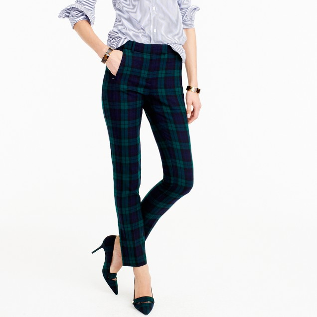 Petite cropped Maddie pant in Black Watch bi-stretch wool
