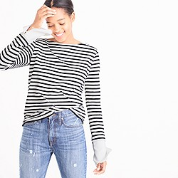 Striped boatneck T-shirt with built-in cuffs