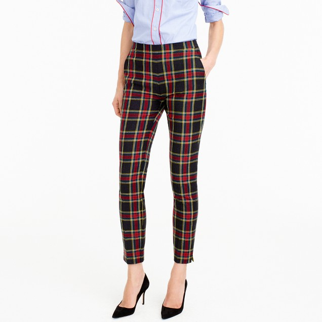 Martie pant in Stewart plaid two-way stretch wool