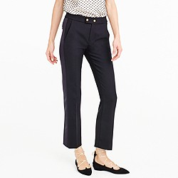 Cropped wool pant with satin tux stripe