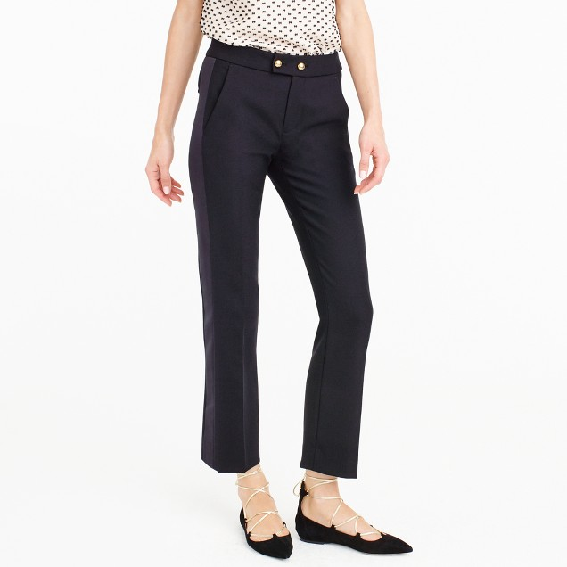 Petite cropped wool pant with satin tux stripe
