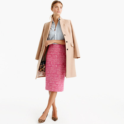 Pencil skirt in pink houndstooth