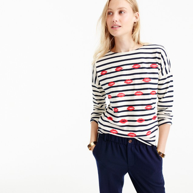 Embroidered lips striped t shirt women 39 s tees j crew for Women s crew t shirts