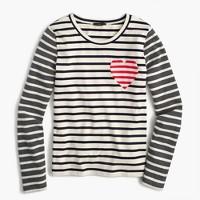 Inset heart striped combo T-shirt