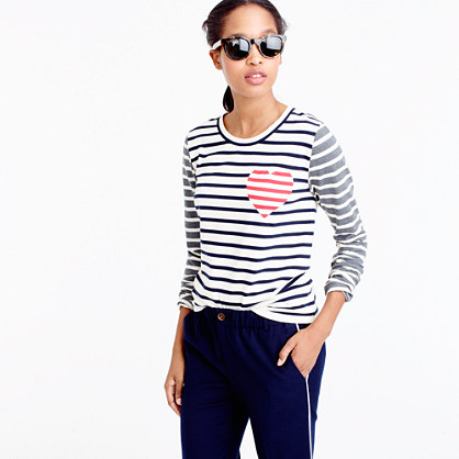 Inset heart striped combo T-shirt
