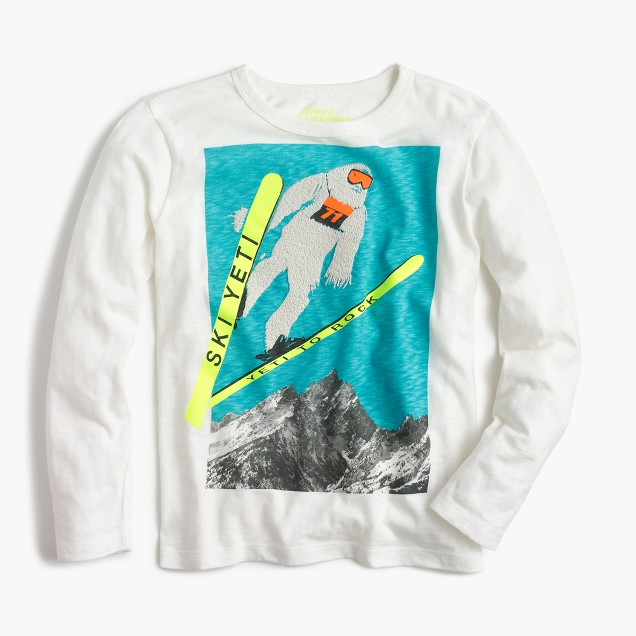 Boys' long-sleeve Yeti skiing T-shirt