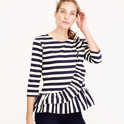 Asymetrical striped ruffle top