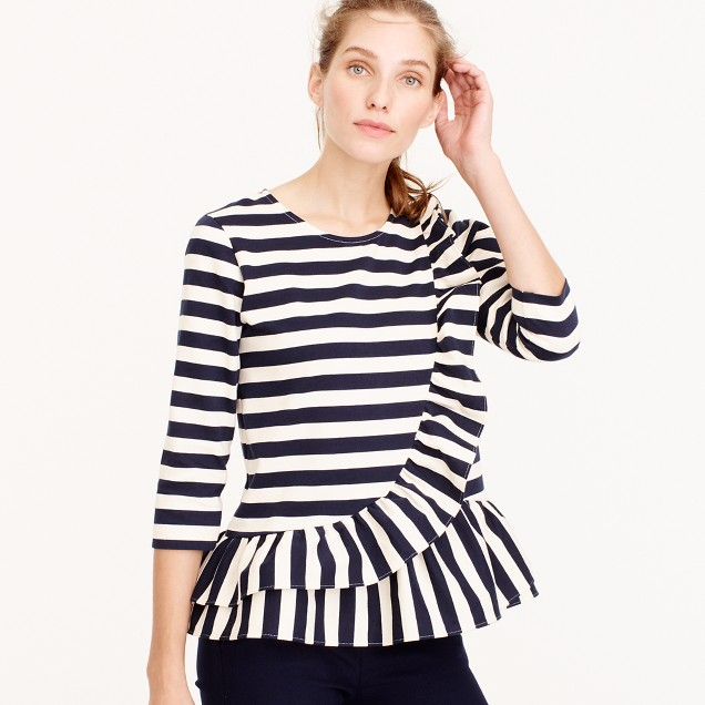 Asymmetrical striped ruffle top