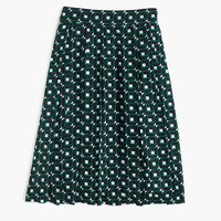 Petite double-pleated midi skirt in shadowbox print