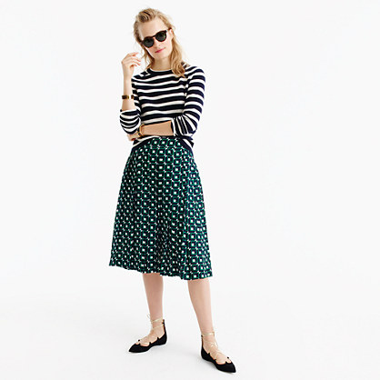 Tall double-pleated midi skirt in shadowbox print
