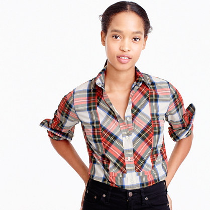 Petite festive plaid button-up shirt
