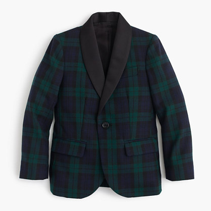 Boys' shawl-collar tuxedo jacket in Black Watch English wool