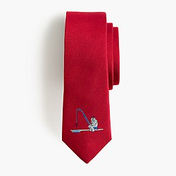 Boys' critter silk tie in fishing Yeti