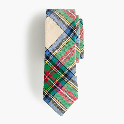 Boys' cotton tie in holiday plaid