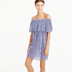 Off-the-shoulder bold striped dress
