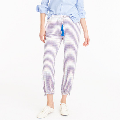 Striped tassel-tie pant