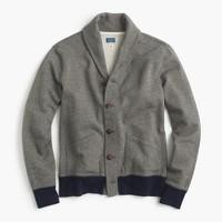 Marled cotton shawl-collar cardigan sweater