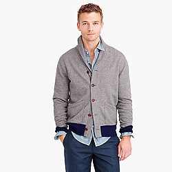 Marled cotton shawl-collar cardigan sweater