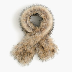Faux-fur stole with Black Watch lining