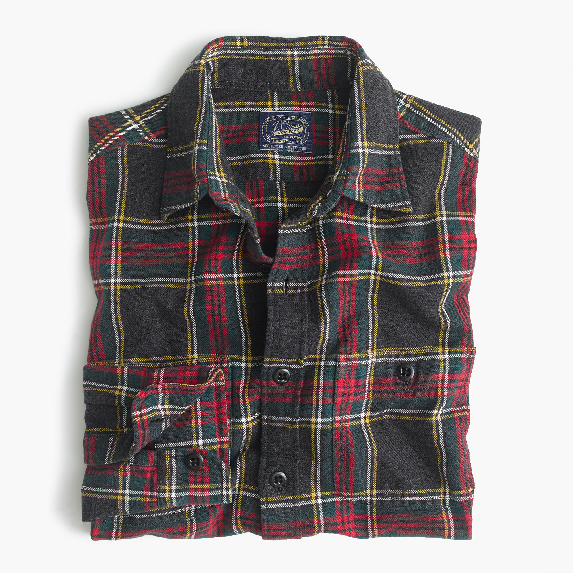 Midweight Flannel Shirt In Black And Red Tartan Men 39 S