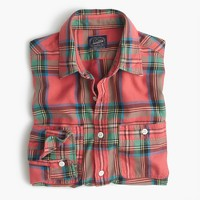 Slim midweight flannel shirt in lodge orange plaid