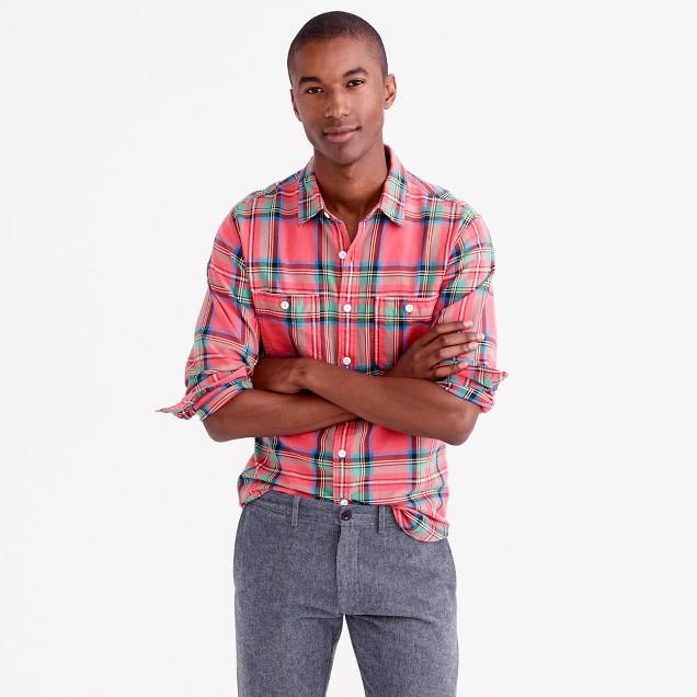 Slim midweight flannel shirt in lodge orange plaid