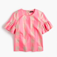 Ruffle-sleeve top in neon buffalo check