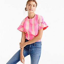 Petite ruffle-sleeve top in neon buffalo check
