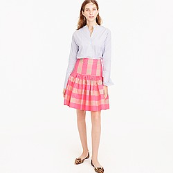 Tall taffeta skirt in neon buffalo check