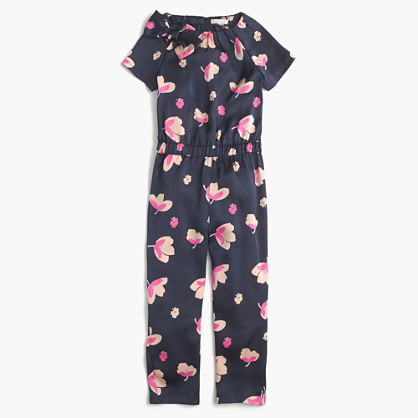 Girls' jumpsuit in peach blossom print