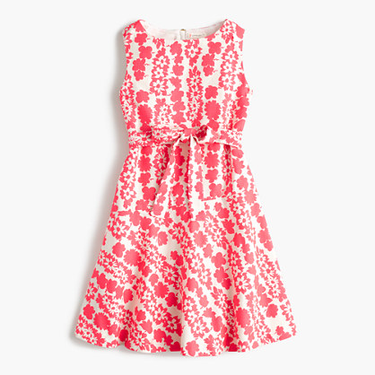 Girls' tie-front dress in neon floral
