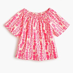 Girls' two-way ruched top in neon floral