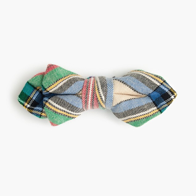 Boys' cotton bow tie inholiday plaid