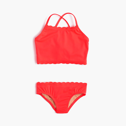 Girls' scalloped tankini set in neon