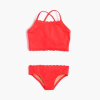 Girls' scalloped cropped tankini set in neon
