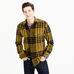 Wool-blend shirt-jacket in blanket plaid