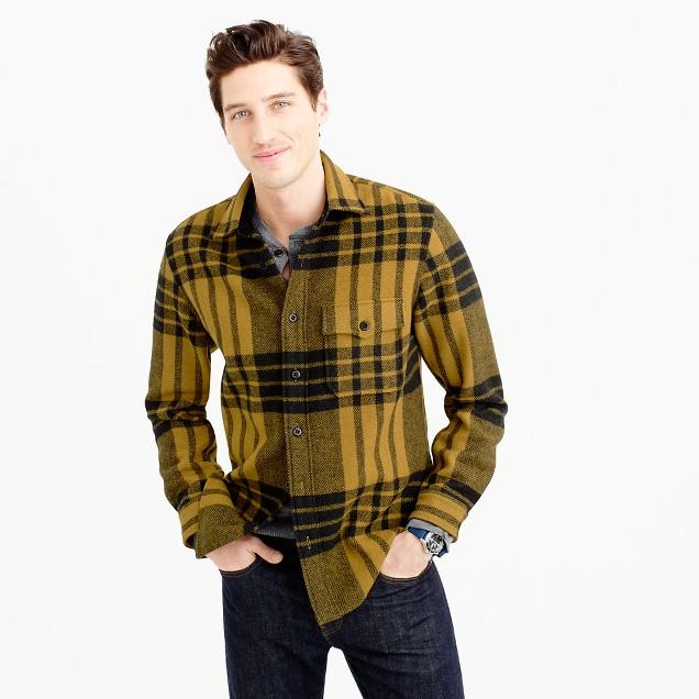Wool-blend shirt-jacket in blanket plaid