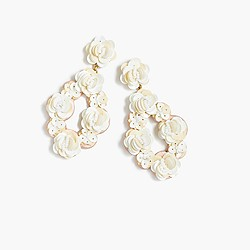 Leather embroidered sequin earrings