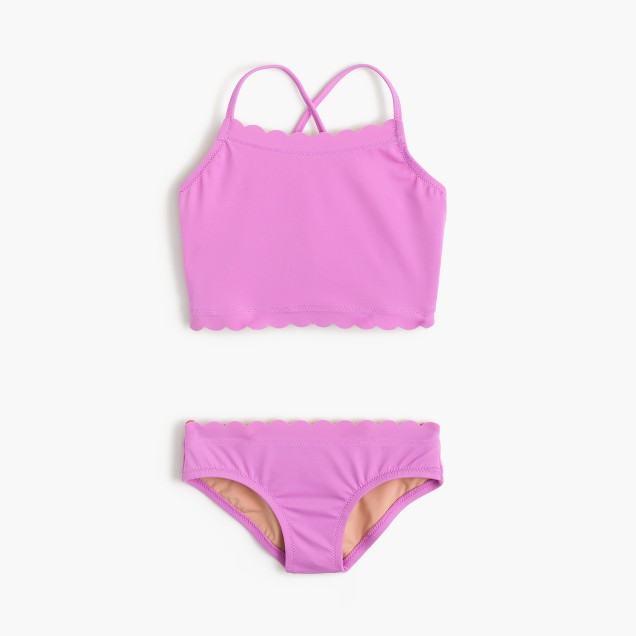 Girls' scalloped tankini set in bright violet