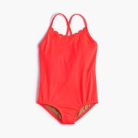 Girls' scalloped one-piece swimsuit in neon