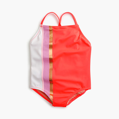 Girls' one-piece swimsuit in colorblock stripes