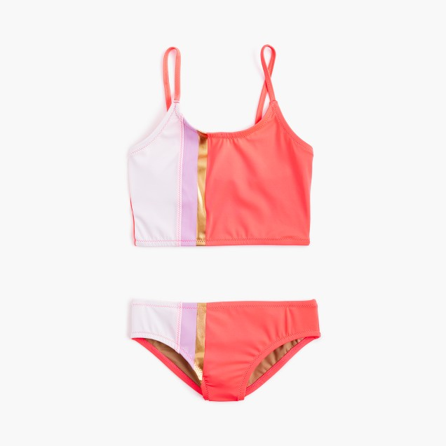 Girls' cropped tankini set in colorblock stripes