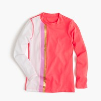 Girls' rash guard in colorblock stripes