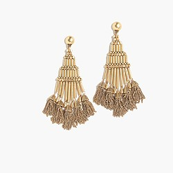 Antique gold beaded tassel earrings