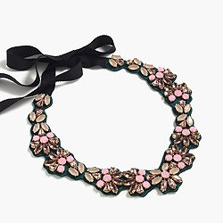 Colorful fabric-backed bib necklace