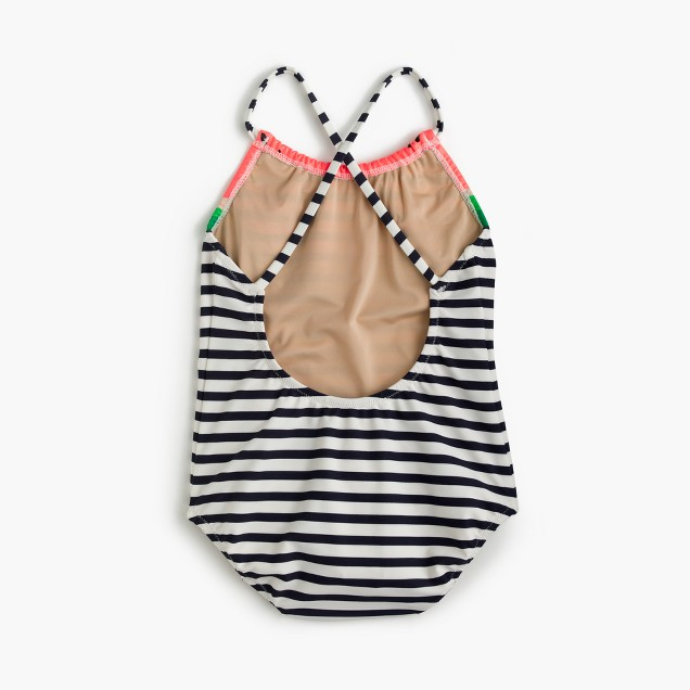 Girls' striped one-piece swimsuit in watermelon