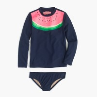 Girls' rash guard set in watermelon