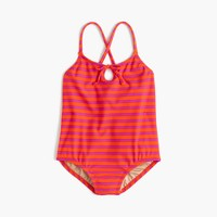 Girls' keyhole one-piece swimsuit in sailor stripes